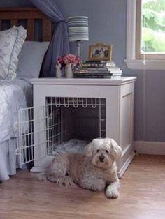 Bedside table dog crate craft