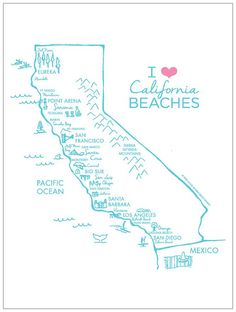 I Love California Beaches Hand Illustrated by OpenHouseBeachDesign, $24.00 #cali #beach #ocean #calilife #beachlife #bikini #tan #tanning #spraytan #beautiful #travel #vacation #holiday