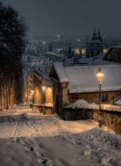 winter night in Prague. A winter night in Prague.A winter night in Prague. Winter Szenen, Winter Love, Winter Magic, Winter Is Coming, Winter Walk, Winter Europe, Winter White, Beautiful World, Beautiful Places