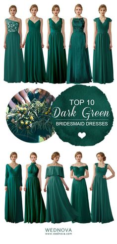 Forrest Green Bridesmaid Dresses, Emerald Green Bridesmaid Dresses, Spring Bridesmaid Dresses, Green Wedding Dresses, Dress Wedding, Bridesmaids, Chiffon, Vintage, Winter Green