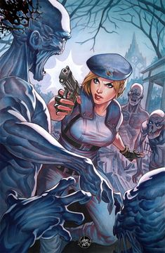 A scanned version of the Jill Valentine commission, cleaned up and retouched a bit in Photoshop. Tyrant Resident Evil, Resident Evil Anime, Resident Evil Girl, Geeks, Valentine Resident Evil, Evil Art, Jill Valentine, Illustrations, Video Game Art