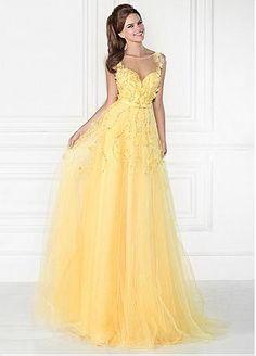 Alluring Tulle & Satin Bateau Neckline A-Line Prom Dresses