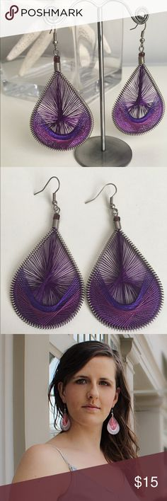 """3"""" Purple Peruvian Earrings Triple Purple Peruvian earrings...there's your tongue twister for the day. These unique hand-threaded earrings are the perfect new item to add to your accessory arsenal. Dimensions: 3"""" long x 1 1/2"""" wide. Photo shows same earrings in different color for sizing. • • • Available in 6 other colors in my closet! Jewelry Earrings"""