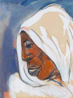 Artwork by Irma Stern, Arab study, Made of watercolour