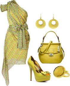 """""""Matthew Williamson Neon Lemon Draped Asymmetric Dress"""" by fashion-766 on Polyvore"""