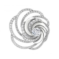 Aria Brooch The reflective white gold, and diamond pavé openwork of this Aria Brooch enhances diamond brilliance, creating a display of illuminated beauty and brilliance. Total carat weight 3.76ct including 1.00ct round brilliant centre diamond. This brooch can also be worn as a pendant.