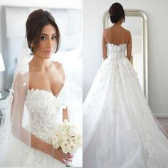New Arrival Strapless Appliques Charming Elegant Hot Sale Wedding Dresses. WD0175