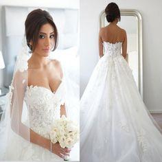 New Arrival Strapless Appliques Charming Elegant Hot Sale Wedding Dresses. WD0175