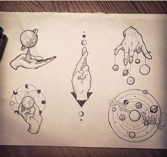 """Top left - thigh piece reference"" hand and solar system tattoo sketches Hand Tattoo, 1 Tattoo, Tattoo Drawings, Body Art Tattoos, Art Drawings, Tatoos, Hand Holding Tattoo, Thigh Piece Tattoos, Cosmos Tattoo"