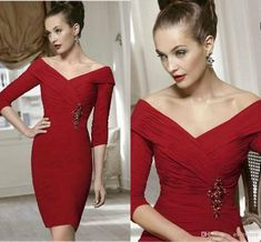 Wholesale Mother of the Bride Dresses - Buy Off-shoulder Sheath Pleated Knee-length Red Evening Gowns Short Sexy Chiffon Mother of the Groom/Bride Dresses with Sleeves New Design, $134.0 | DHgate