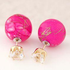 Diamond Huali Song stone black ball earrings wild studs