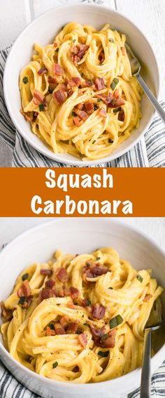 Perfectly luscious and delicious dairy-free Squash Carbonara. This carbonara gets its silky texture from a butternut squash sauce - that's correct it's packing veggies! Best Pasta Recipes, Fall Recipes, Easy Dinner Recipes, Healthy Recipes, Rice Recipes, Noodle Recipes, Healthy Dinners, Amazing Recipes, Vegetable Recipes