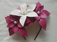 Beautiful hot pink and white leather flower headpiece by scarletandred on Etsy