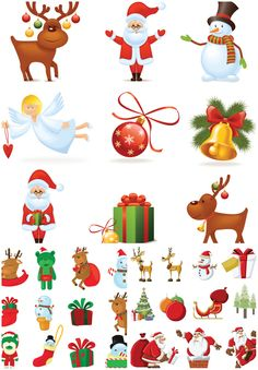 3 Sets of 32 vector cartoon Santa Claus clipart collections with illustrations of reindeers, Santa Claus, snowman, gifts, presents, bears, angels, ornaments, toys, stockings and Christmas trees for your decorative greeting cards, postcards, banners, labels, logos, etc. Format: ai, tif…