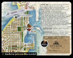 I like the hand drawn/coloured map of the city on this layout