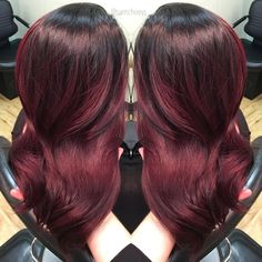 Red and purple hair // mahogany hair // dark shadow roots