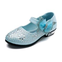 Blue Flower Girl Party Shoes