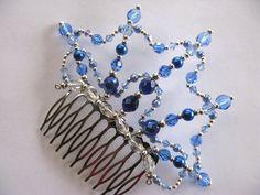 Side Comb Web - Royal Blue/Sapphire Buy Dance tiaras, Swarovski crystal beaded headpieces for ballet dancers