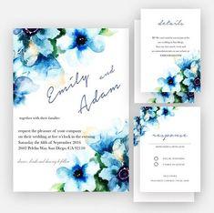 Blue Flower  Wedding Invitation Wedding Printable Invitation