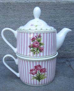 "LAURA ASHLEY HOME 2 Piece Semi-Bone China Tea For One ""CELIA"" TEAPOT & CUP SET!!"