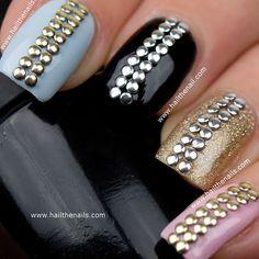 Gold & Silver Metallic Studs Nail Art shop.wigsbuy.com