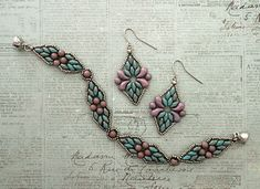 Linda's Crafty Inspirations: Juliet Earrings - Turquoise & Lilac Beaded Braclets, Seed Bead Bracelets, Beaded Earrings, Beading Projects, Beading Tutorials, Beading Patterns, Bead Jewellery, Beaded Jewelry, Handmade Jewelry