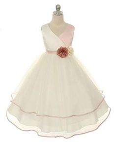 cb9f28c79 Flower Girl Dress Vneck Satin Bodice and Tulle Layered Girls Skirt Party  Dress Special Occasion Dress