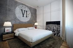 Quilt In The Masculine Bedroom Interior Design With Wooden Nightstands And Grey Rug