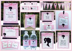 printable barbie party invitation & decorations