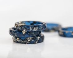 Deep Blue Resin Stacking Ring Gold Flakes Thin by daimblond