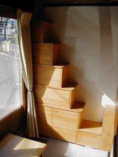 small profile staircase with storage