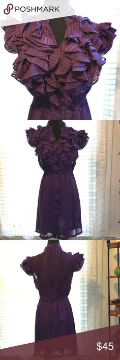 '21' Purple Mega Ruffled Sheer Midi Party Dress Twenty One, lightly-striped deep purple, midi knee length, sleeveless cocktail party dress.   Band collar. Multiple layered generous ruffles at neckline. Buttons up all the way in front for easy wear.  Waist Sash.  very cute.  Quinceniera, birthday, prom, graduation Twenty One Dresses Prom