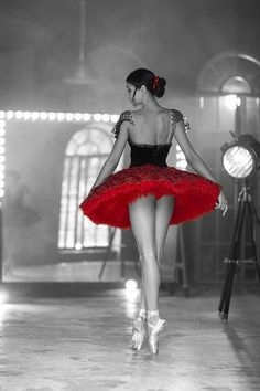 Ballerina with red and black tutu
