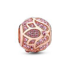 Glamulet 925 Sterling Silver Rose Gold Lotus Charm Fits Pandora Bracelet
