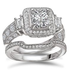 Avanti Rhodium Plated Sterling Silver 4 Ct TGW CZ Princess Cut Halo Bridal Ring Set (Size 6), Women's, White