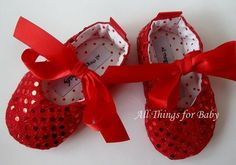 Red baby girls shoes valentine sequined mary by allthingsforbaby, $27.00