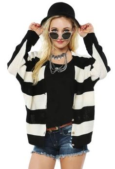 Stripe Knit Cardigan | Shop Cardigans at Papaya