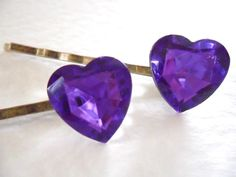 A Pair of Ultraviolet Jewel Heart Bobby Pins by RoseUltra