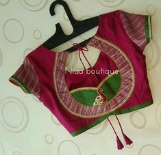 It's your wedding, your cousin's or friend's wedding, or just an ordinary function, Maggam designs on Blouse are a perfect fit for all the occasions. Patch Work Blouse Designs, Simple Blouse Designs, Saree Blouse Neck Designs, Stylish Blouse Design, Dress Neck Designs, Bridal Blouse Designs, Sleeve Designs, Blouse Designs Catalogue, Designer Blouse Patterns