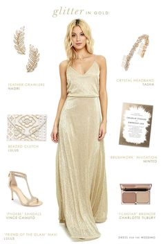 Gold maxi dress for a bridesmaid or wedding guest