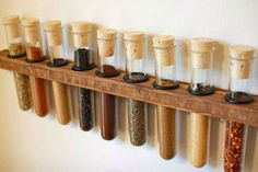 Here's a test tube spice rack that I made to hold all of my spices. I tried to improve upon previous test tube spice racks that I've seen by using a nice. Test Tube Spice Rack, Diy Spice Rack, Spice Storage, Storage Hacks, Spice Holder, Spice Drawer, Storage Sheds, Farmhouse Kitchen Diy, Diy Kitchen