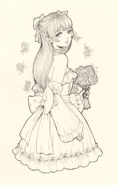 Official Post from Jasmin Darnell: Will be recording my process coloring this with markers soon! Dark Art Drawings, Cute Drawings, Character Illustration, Illustration Art, Watercolor Portrait Tutorial, Cute Coloring Pages, Colouring, Character Art, Character Design