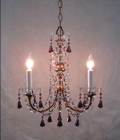 Vtg French Brass Amethyst Crystals Porcelain Roses 3 Light CHANDELIER Beautiful!