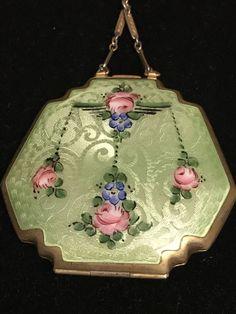 Antique Art Deco sterling silver & Light Green guilloche enamel rose compact