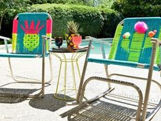 Don't throw away those old folding lawn chairs, bring them back to life by reweaving the seat with brightly colored craft cord.