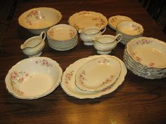 Homer Laughlin China Virginia Rose Lot Set 36 Pieces Vintage Dinnerware Dishes | eBay