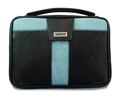 Saved Cross Black and Blue Faux Leather X-Large Bible Cover Case and Handle