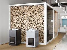 Tulikivi puukiukaat Tammistossa. Tulikivi wood-burning sauna heaters at Studio Tammisto. Airstream Campers, Camper Trailers, Camper Interior, Remodels, Studios, Box, Furniture, Home Decor, Snare Drum