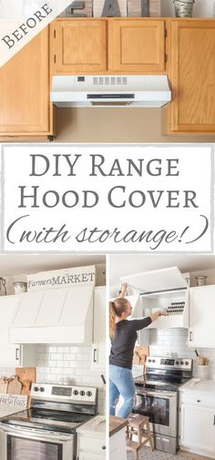 DIY Range Hood Cover With Storage Hey everyone! So I have a confession to make. Ever since completing the kitchen makeover last November I have been stuck in a major rut. Explains why it's been pretty quiet around here and why th Diy Kitchen Remodel, Kitchen Redo, New Kitchen, Kitchen Design, Kitchen Cabinets, Kitchen Remodeling, Kitchen Renovation Diy, Home Remodeling Diy, Smart Kitchen