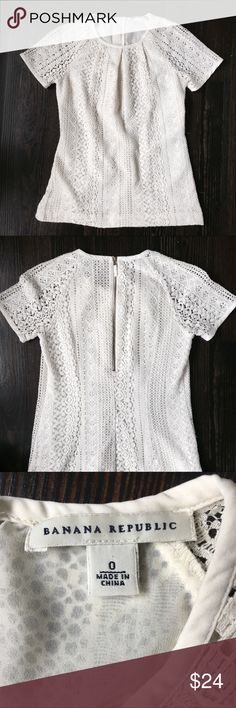 Banana Republic Cream Lace Tee w Exposed Zipper Banana Republic Cream Lace Short sleeve Tee w Exposed Zipper.  Good used condition.  No major signs of wear.  Exposed zipper in back.  Ruched neckline.  Make me an offer 😉 Banana Republic Tops Blouses